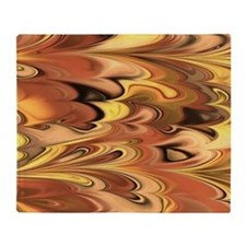 Rust and Gold Marbled Rainbow Swirl Throw Blanket