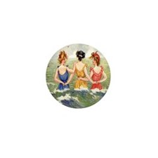 Vintage Victorian Women Seashore Mini Button