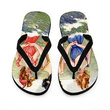 Vintage Victorian Women Seashore Flip Flops