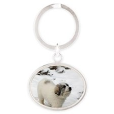 Great Pyrenees Puppy Oval Keychain