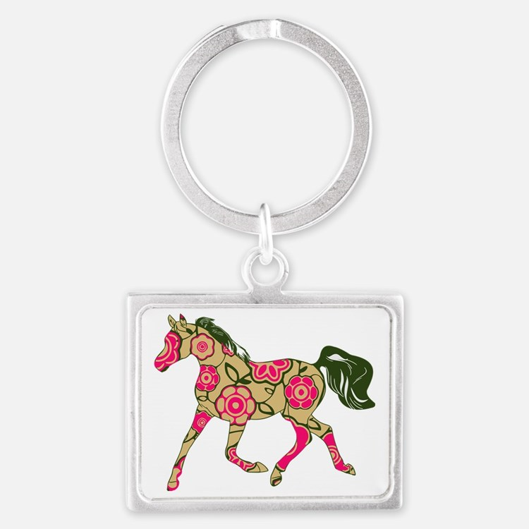 Floral Horse Landscape Keychain