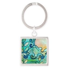 Sunny Fish Underwater Blue by Mela Square Keychain