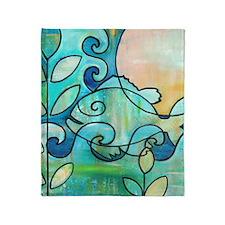 Sunny Fish Underwater Blue by Melani Throw Blanket