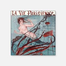 "Vintage Paris Mermaid Square Sticker 3"" x 3"""