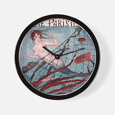 Vintage Paris Mermaid Wall Clock