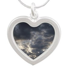 Blue Sky Above the Rain Silver Heart Necklace