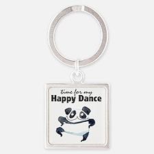 Happy Dance Panda Square Keychain