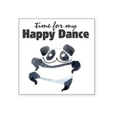 "Happy Dance Panda Square Sticker 3"" x 3"""