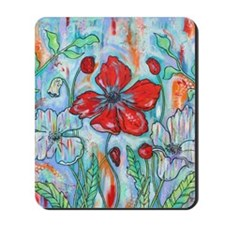 The Red Poppy Floral Art by Melanie Dout Mousepad