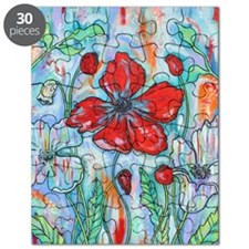 The Red Poppy Floral Art by Melanie Douthit Puzzle