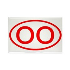 OO Oval (Red) Rectangle Magnet