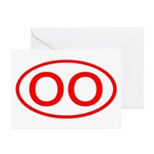 OO Oval (Red) Greeting Cards (Pk of 10)