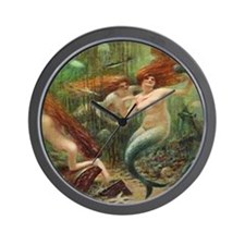 Vintage Mermaid Treasure Chest Shower C Wall Clock