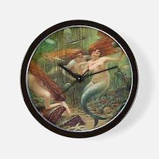 Vintage Mermaid Treasure Chest Shower C Wall Clock