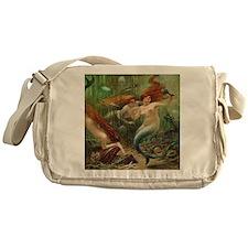 Vintage Mermaid Treasure Chest Showe Messenger Bag