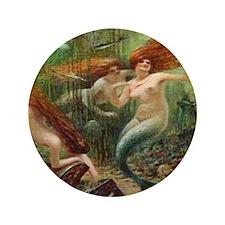 "Vintage Mermaid Treasure Chest Shower  3.5"" Button"