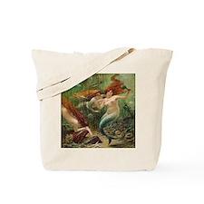 Vintage Mermaid Treasure Chest Shower Cur Tote Bag
