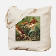 Vintage Mermaid Treasure Chest Shower Cur Tote Bag
