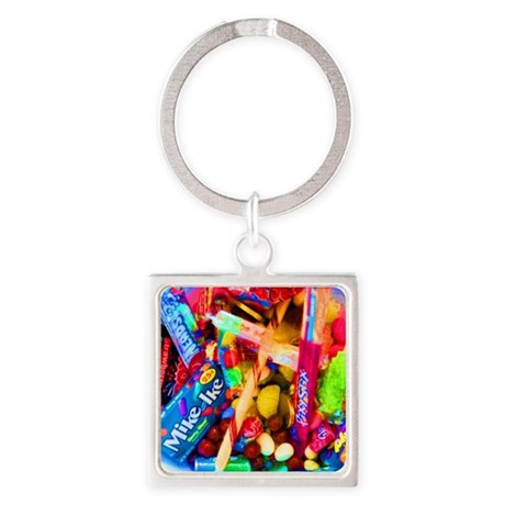 Candy Girl Cat Forsley Designs Square Keychain