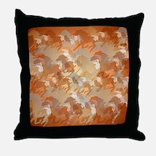 Misty Running Horses Throw Pillow