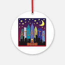 Atlanta Skyline mega color Round Ornament