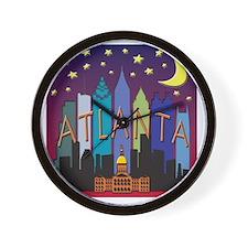 Atlanta Skyline mega color Wall Clock