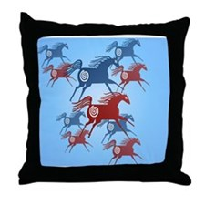 Womens All Over Two Ancient Horses Throw Pillow