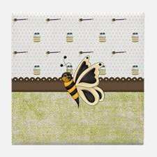 Cute Bumble Bee and Honey Tile Coaster
