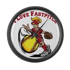 red, Love Fastpitch Large Wall Clock