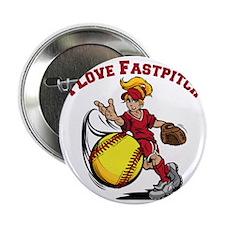 "red, Love Fastpitch 2.25"" Button"