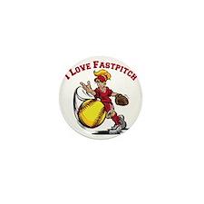 red, Love Fastpitch Mini Button