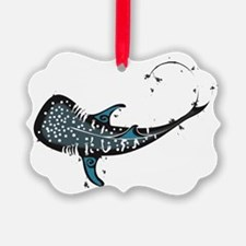 Whale shark Black and Blue Ornament