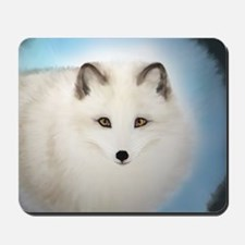 Arctic Fox with Blue Background Mousepad