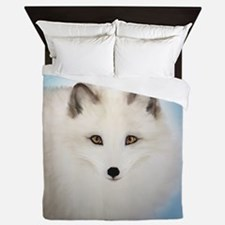 Arctic Fox with Blue Background Queen Duvet