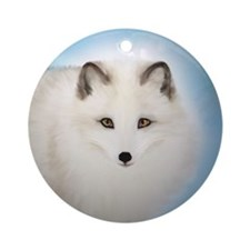 Arctic Fox with Blue Background Round Ornament