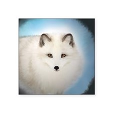 """Arctic Fox with Blue Backgr Square Sticker 3"""" x 3"""""""