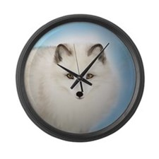 Arctic Fox with Blue Background Large Wall Clock
