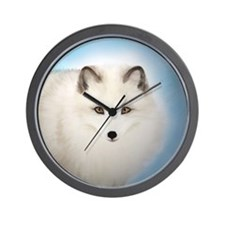 Arctic Fox with Blue Background Wall Clock