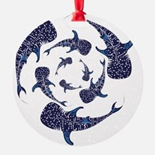 Whale Sahrk Blue Spiral Ornament