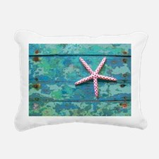 Starfish and Turquoise R Rectangular Canvas Pillow