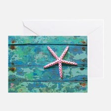 Starfish and Turquoise Rustic Greeting Card