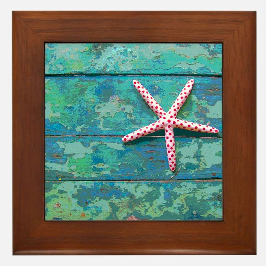 Starfish and Turquoise Rustic Framed Tile
