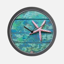 Starfish and Turquoise Rustic Wall Clock
