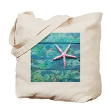 Starfish and Turquoise Rustic Tote Bag