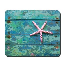 Starfish and Turquoise Rustic Mousepad