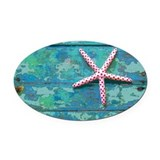 Beach with starfish Oval Car Magnets