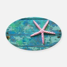 Starfish and Turquoise Rustic Oval Car Magnet