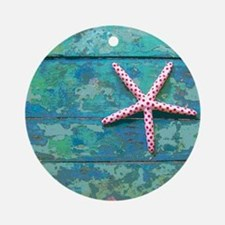 Starfish and Turquoise Rustic Round Ornament