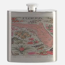 Vintage Florida Fruit Flower Map Flask