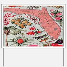 Vintage Florida Fruit Flower Map Yard Sign